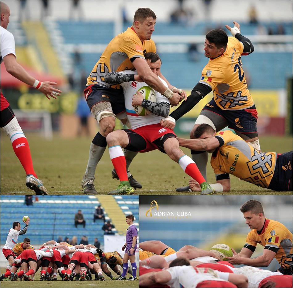 """Meciul de rugby Romania-Rusia desfasurat pe stadionul """"Emil Alexandrescu"""" din Iasi."""
