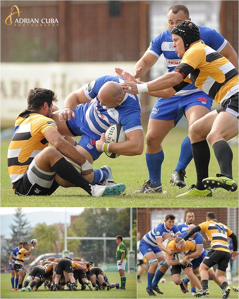 Meciul de rugby dintre Politehnica Iasi si CSM Olimpia Bucuresti, scor 34-21