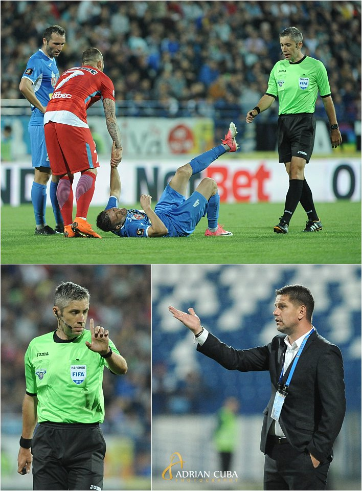 Arbitrul Marian Petrescu si antrenorul Flavius Stoican la meciul de fotbal CSMS-FCSB