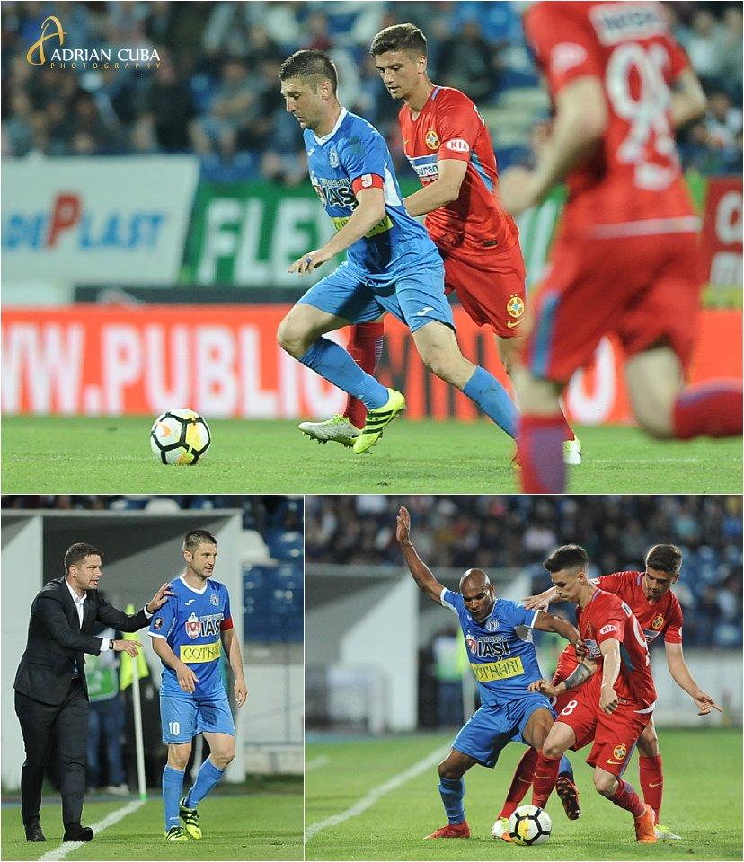 Capitanul Andrei Cristea inscrie unicul gol al meciului de fotbal CSMS Iasi-FCSB