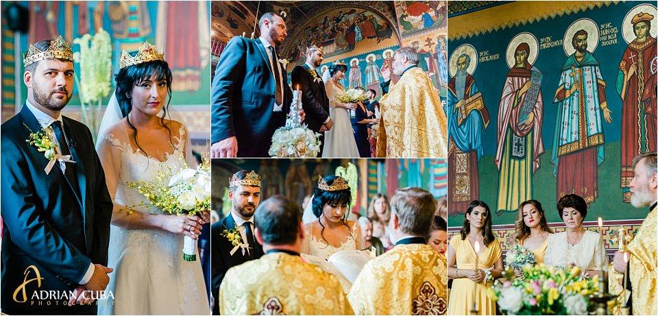 Mirele si mireasa participa la cununia religioasa la biserica Sfanta Parascheva Iasi.