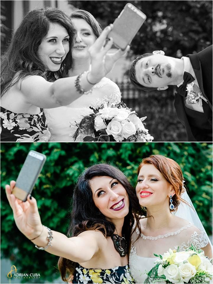 Mireasa isi face un selfie la nunta Iasi.