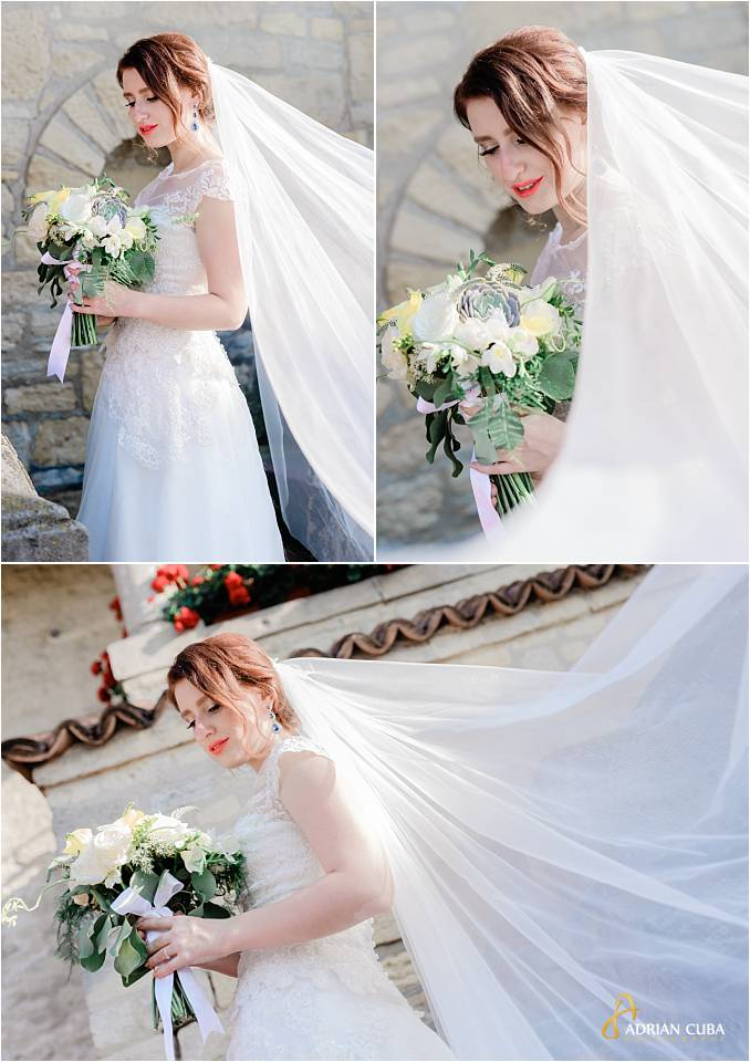 Mireasa cu buchet si voal, la sesiunea foto din ziua nuntii iasi.