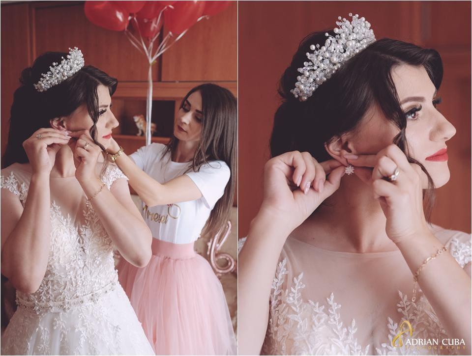 Domnisoara de onoare gateste mireasa la nunta Vaslui.