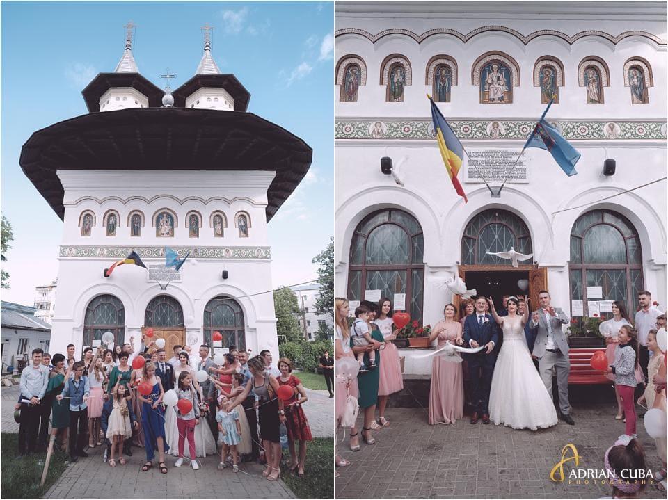 Baloane si porumbei la cununia religioasa de la biserica sfantul Nicolae din Vaslui.