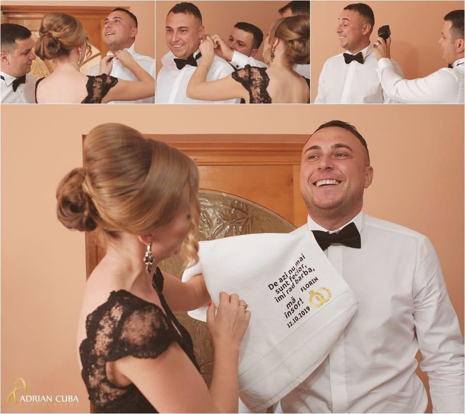 Fotografii nunta Barlad, gatitul mirelui.
