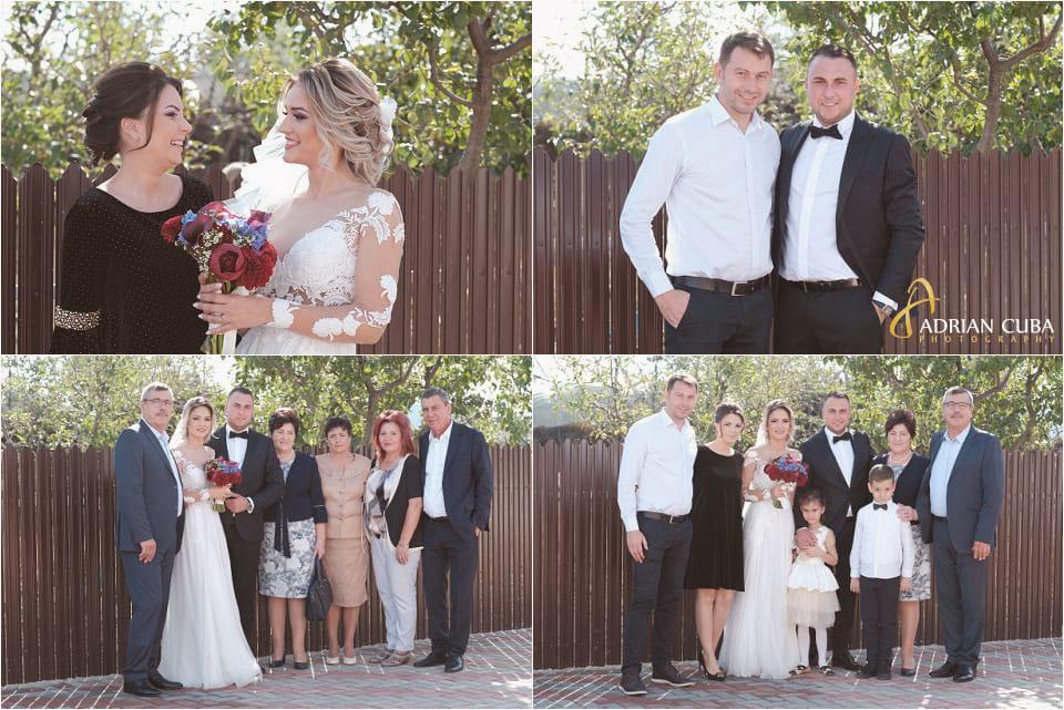 Fotografie de grup la nunta, mirii si parintii